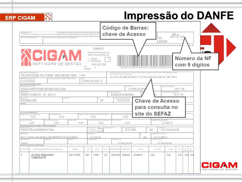 Impressão do DANFE ERP CIGAM. Código de Barras: chave de Acesso.