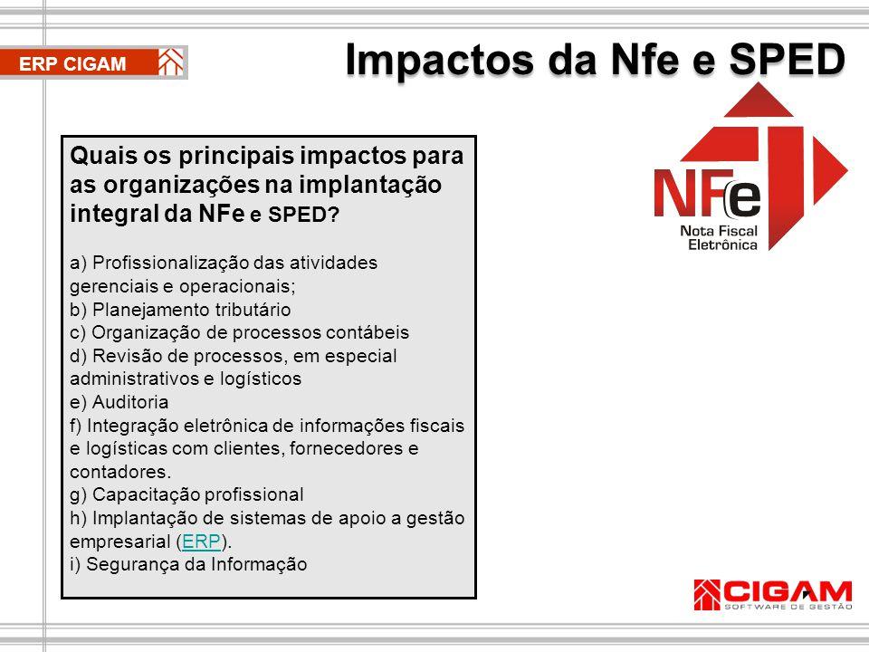 Impactos da Nfe e SPED ERP CIGAM. Quais os principais impactos para as organizações na implantação integral da NFe e SPED