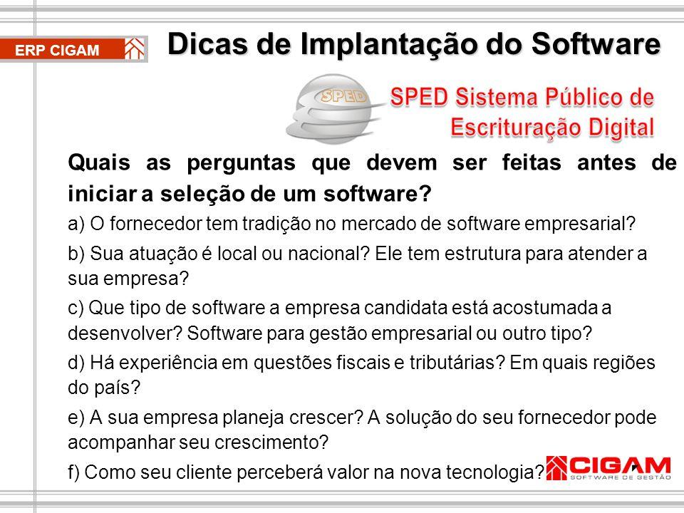 Dicas de Implantação do Software