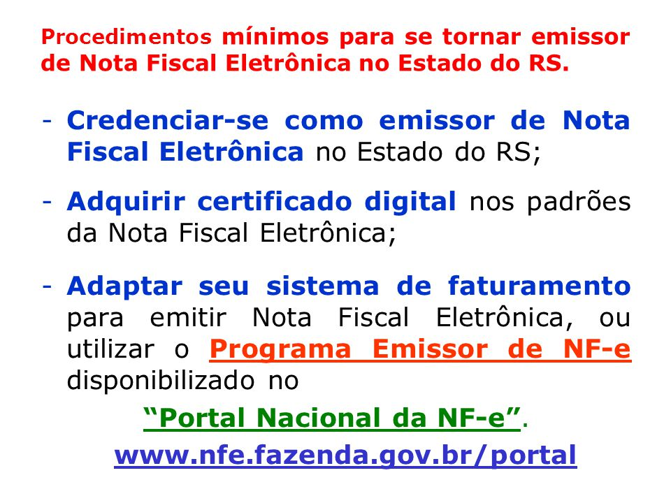 Portal Nacional da NF-e .