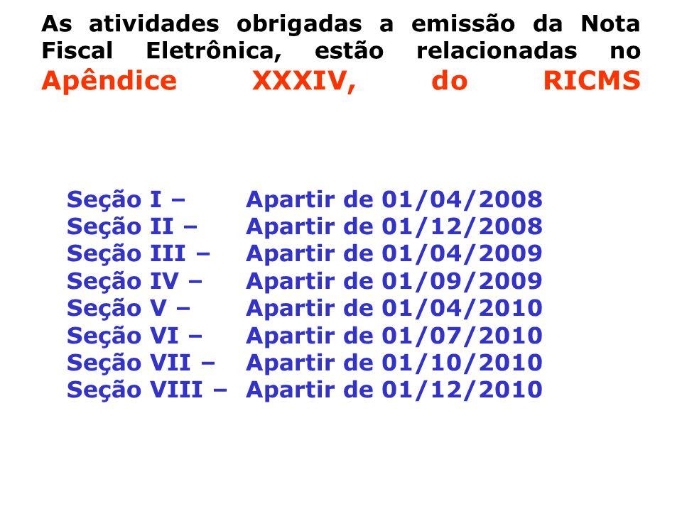As atividades obrigadas a emissão da Nota Fiscal Eletrônica, estão relacionadas no Apêndice XXXIV, do RICMS