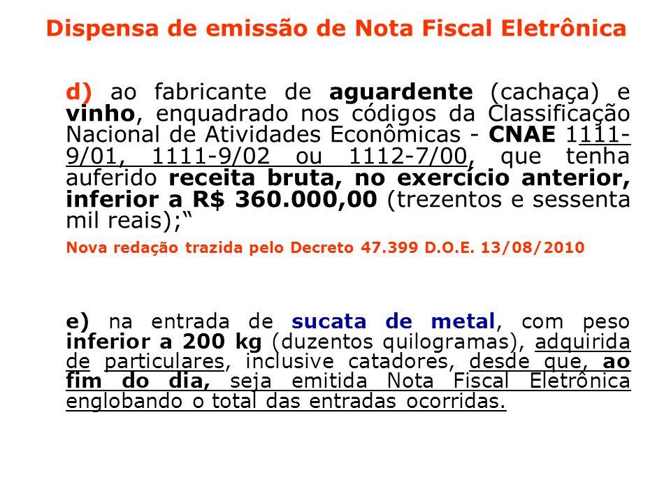 Dispensa de emissão de Nota Fiscal Eletrônica