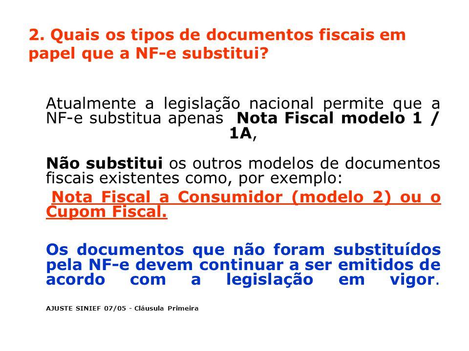 2. Quais os tipos de documentos fiscais em papel que a NF-e substitui