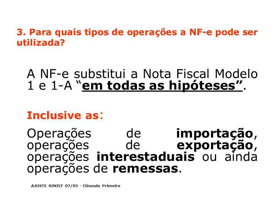 3. Para quais tipos de operações a NF-e pode ser utilizada