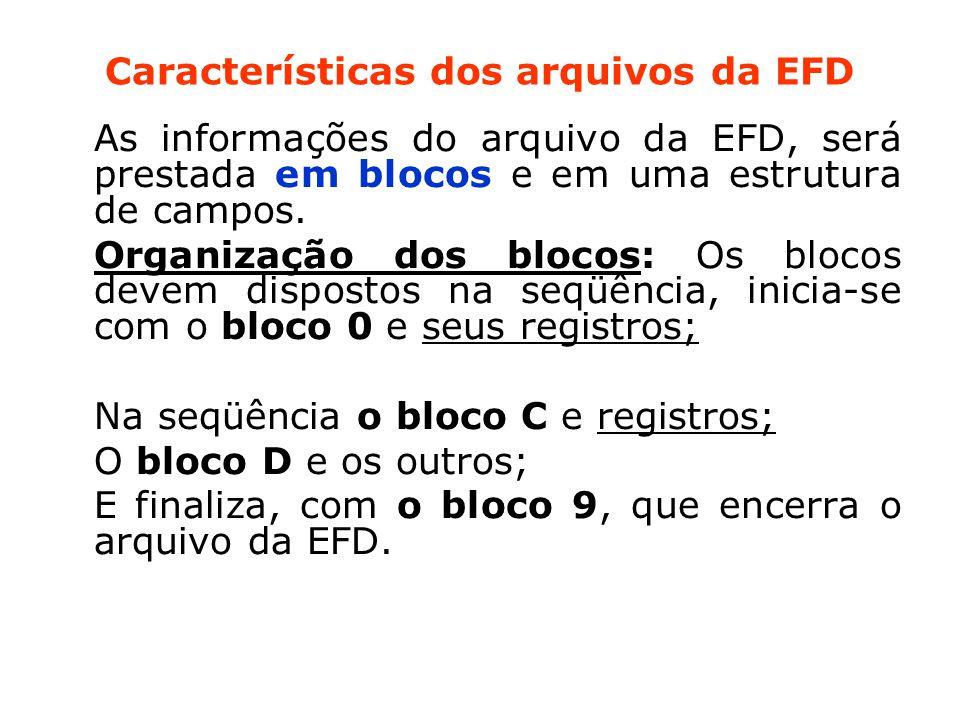 Características dos arquivos da EFD