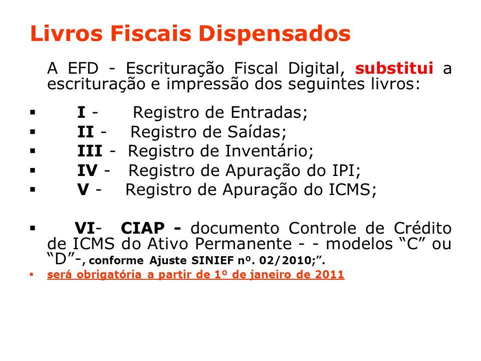 Livros Fiscais Dispensados