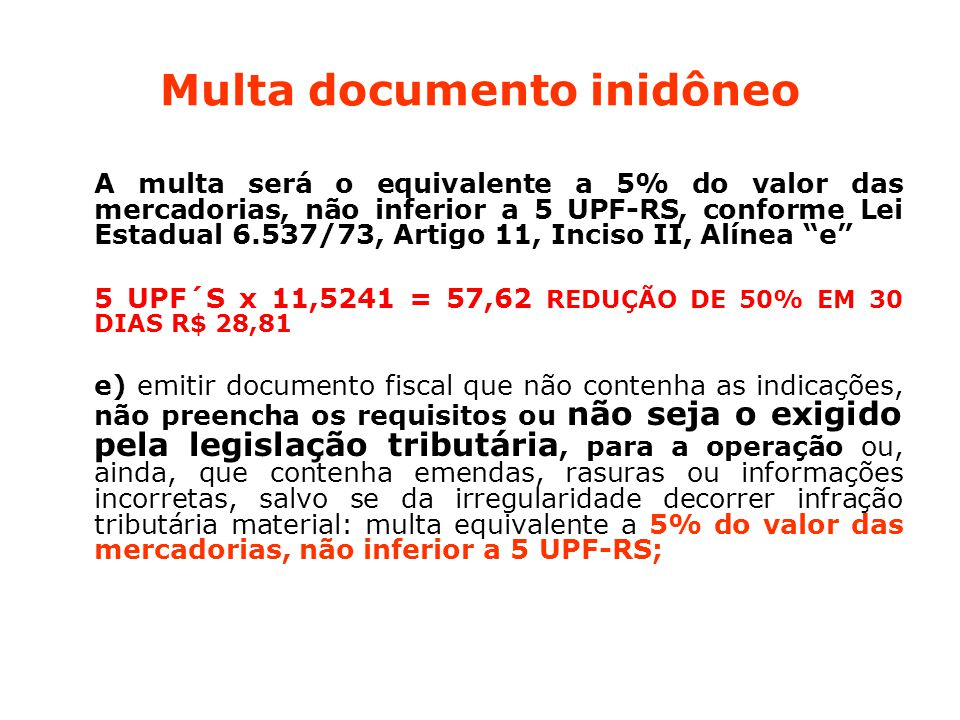 Multa documento inidôneo