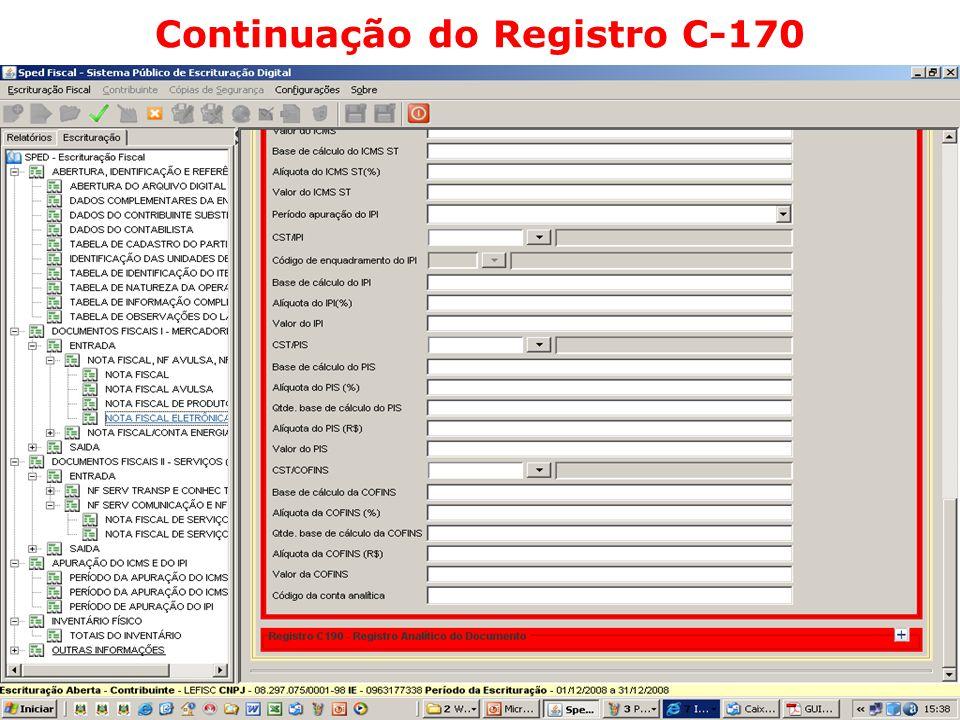 Continuação do Registro C-170