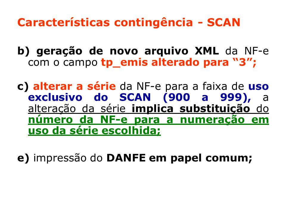 Características contingência - SCAN