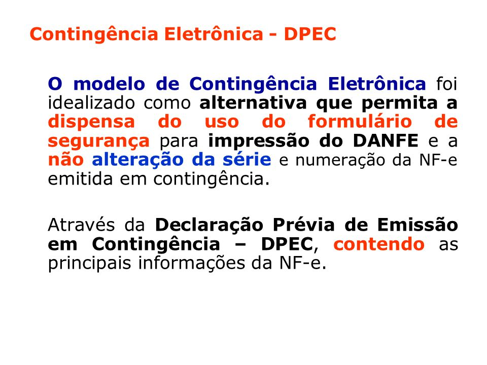 Contingência Eletrônica - DPEC
