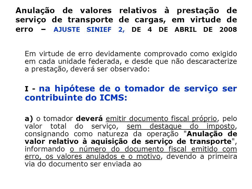 Anulação de valores relativos à prestação de serviço de transporte de cargas, em virtude de erro – AJUSTE SINIEF 2, DE 4 DE ABRIL DE 2008