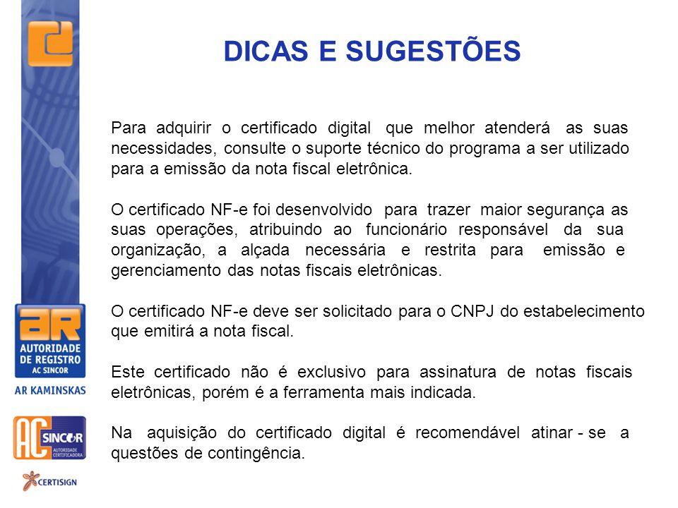 DICAS E SUGESTÕES