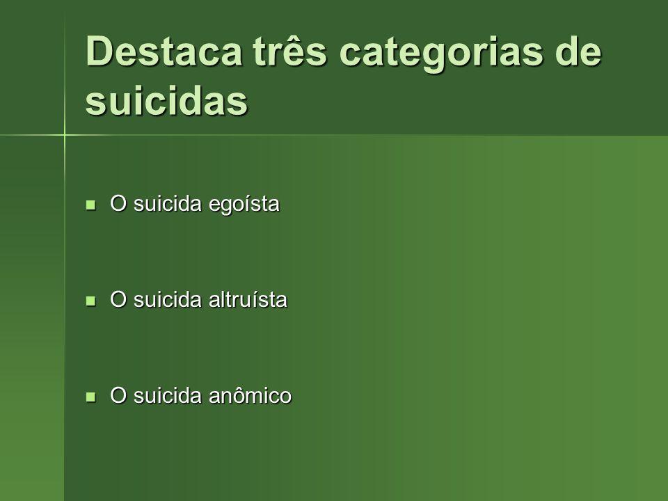 Destaca três categorias de suicidas