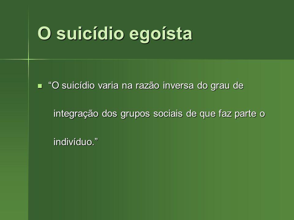 O suicídio egoísta O suicídio varia na razão inversa do grau de