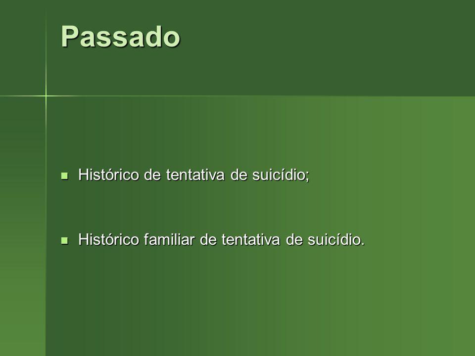 Passado Histórico de tentativa de suicídio;