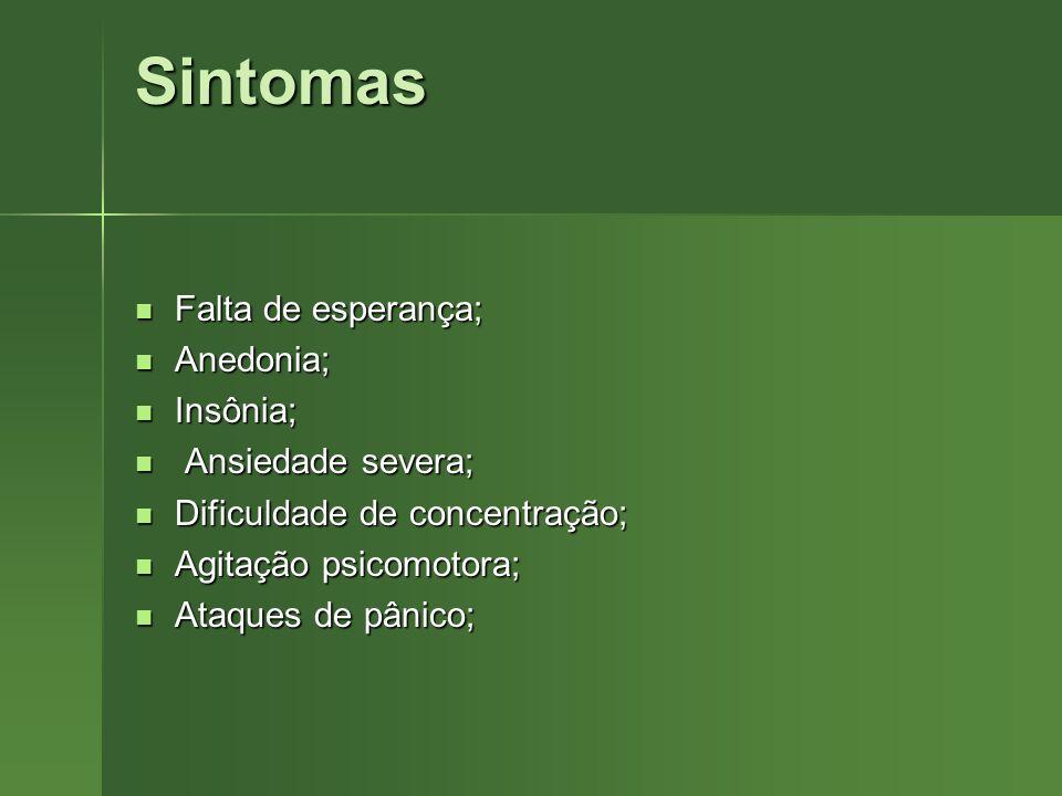 Sintomas Falta de esperança; Anedonia; Insônia; Ansiedade severa;