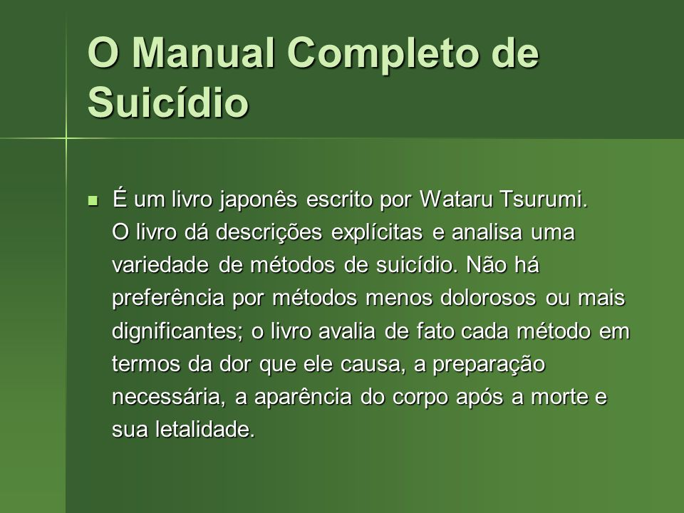 O Manual Completo de Suicídio