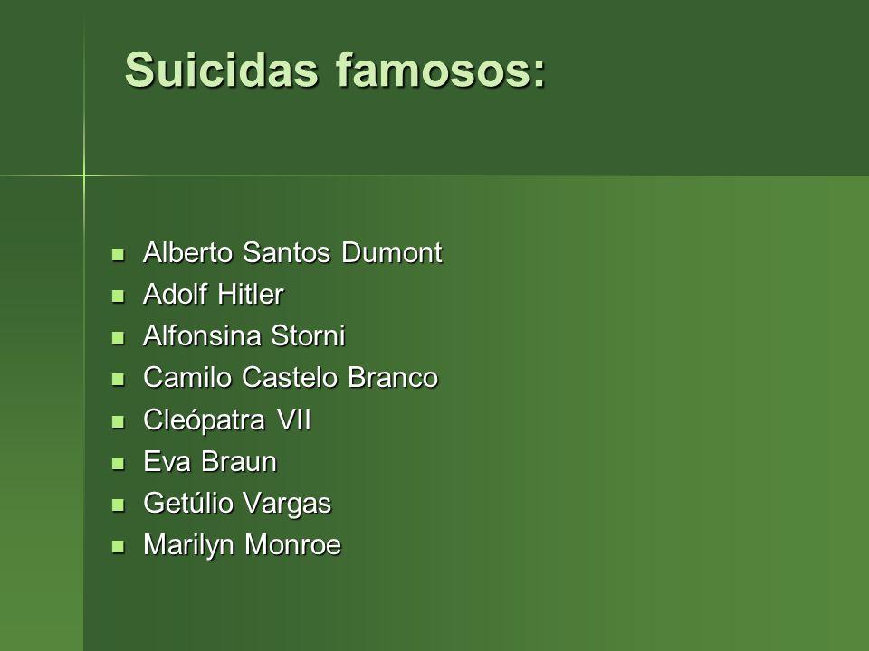Suicidas famosos: Alberto Santos Dumont Adolf Hitler Alfonsina Storni