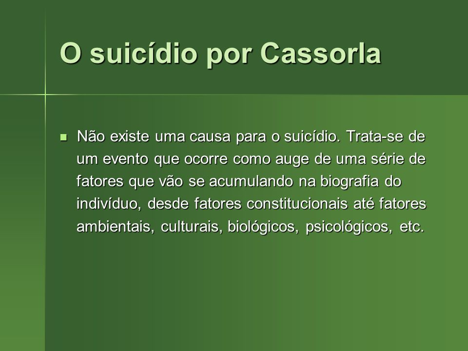 O suicídio por Cassorla