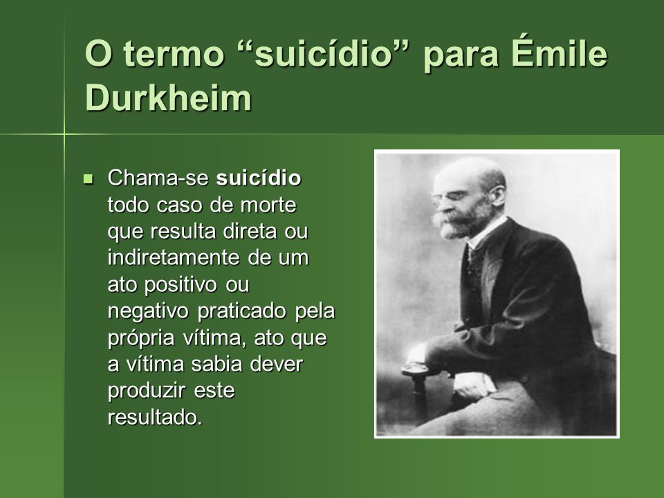 O termo suicídio para Émile Durkheim