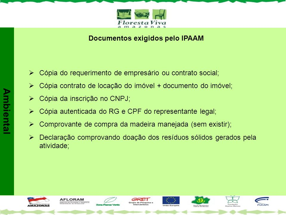 Documentos exigidos pelo IPAAM