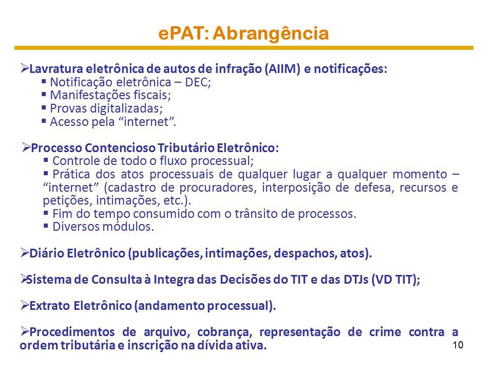 ePAT: Abrangência Lavratura eletrônica de autos de infração (AIIM) e notificações: Notificação eletrônica – DEC;