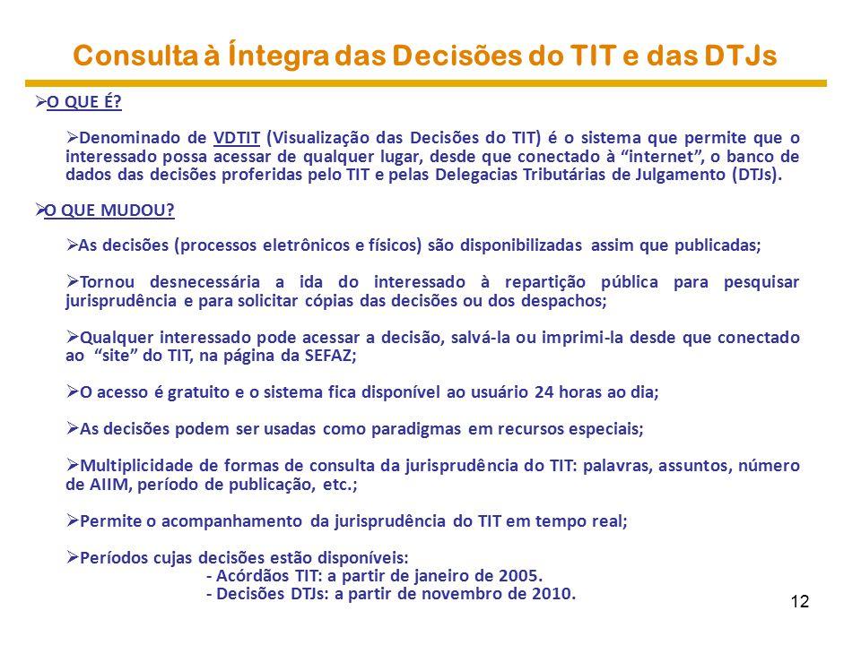 Consulta à Íntegra das Decisões do TIT e das DTJs