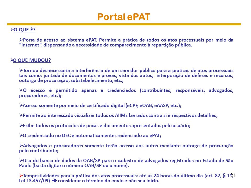 Portal ePAT O QUE MUDOU O QUE É