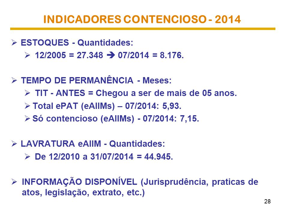 INDICADORES CONTENCIOSO - 2014