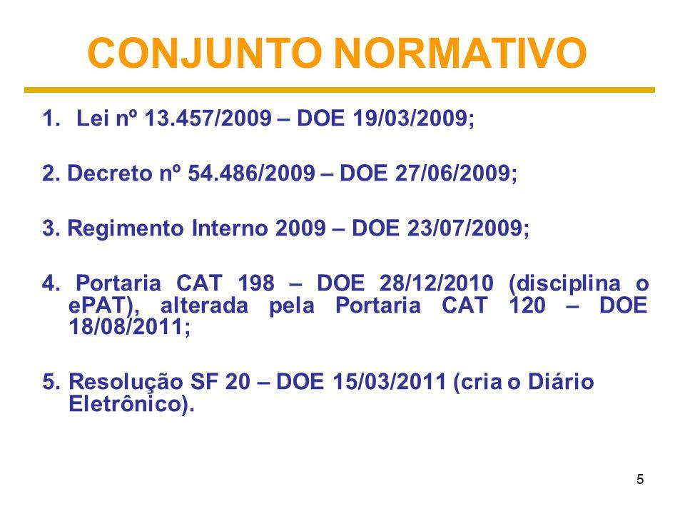 CONJUNTO NORMATIVO Lei nº 13.457/2009 – DOE 19/03/2009;
