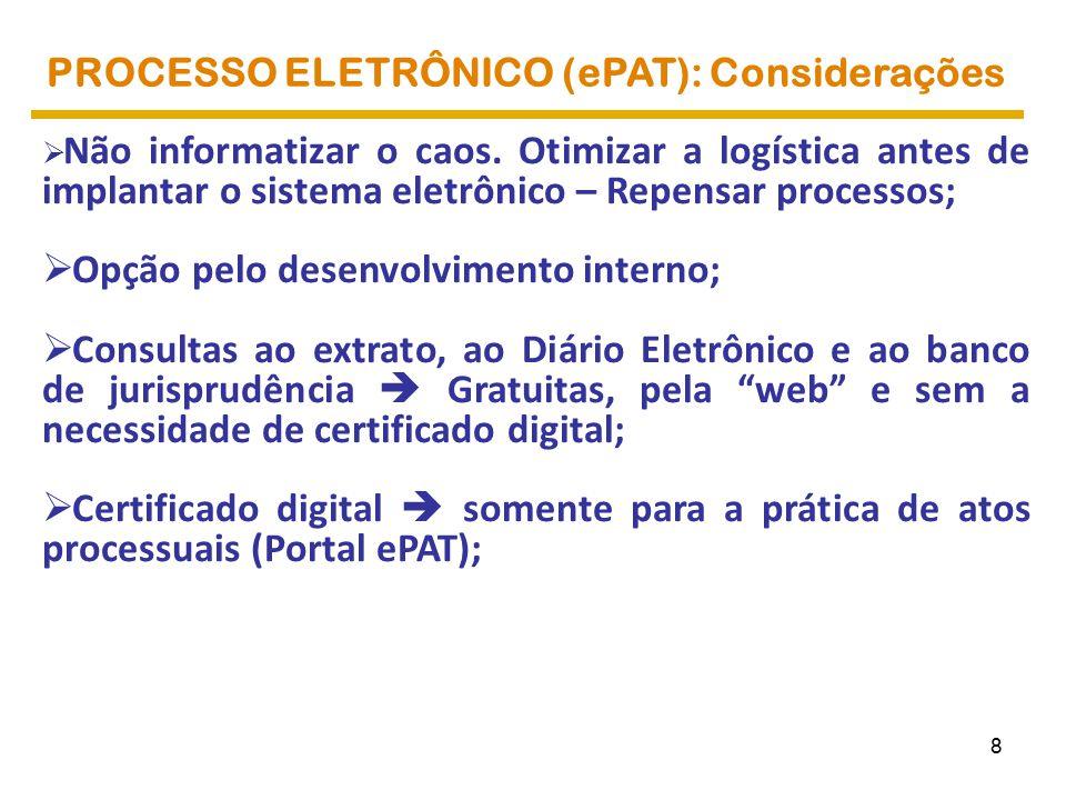 PROCESSO ELETRÔNICO (ePAT): Considerações