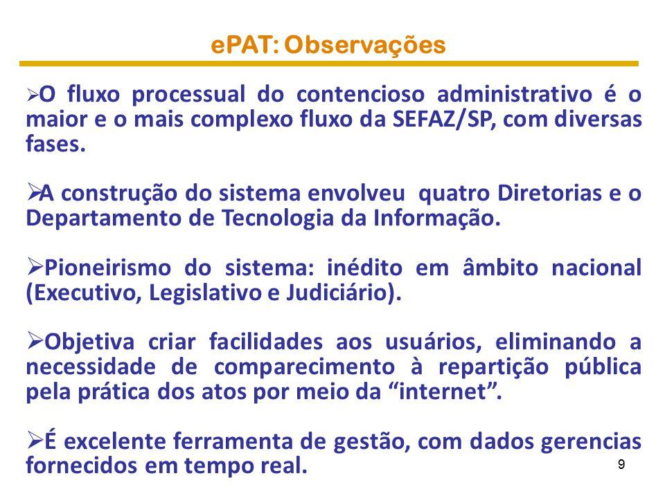 ePAT: Observações O fluxo processual do contencioso administrativo é o maior e o mais complexo fluxo da SEFAZ/SP, com diversas fases.