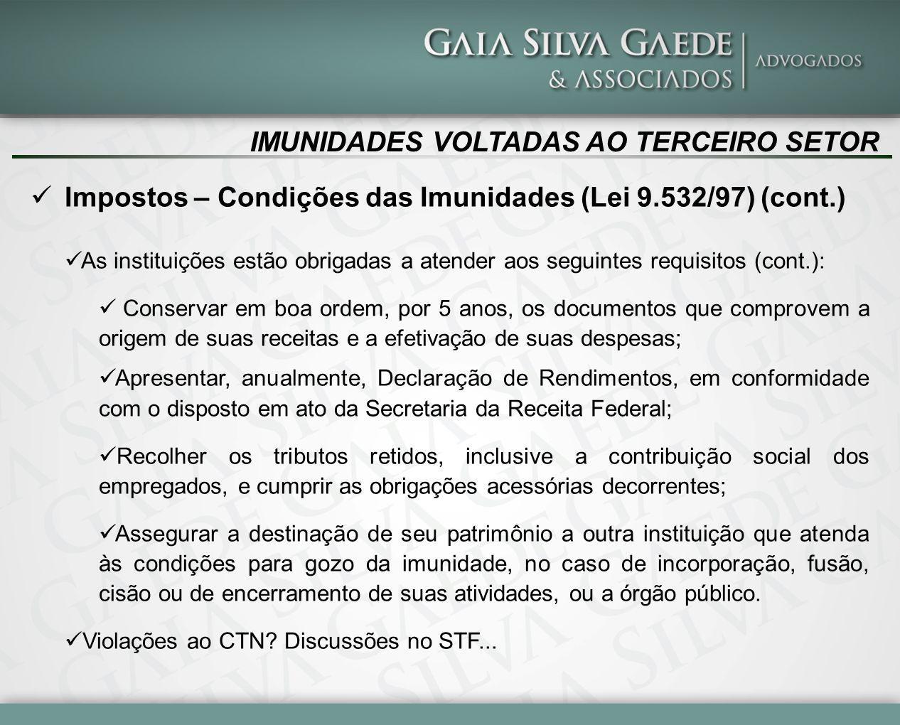 IMUNIDADES VOLTADAS AO TERCEIRO SETOR