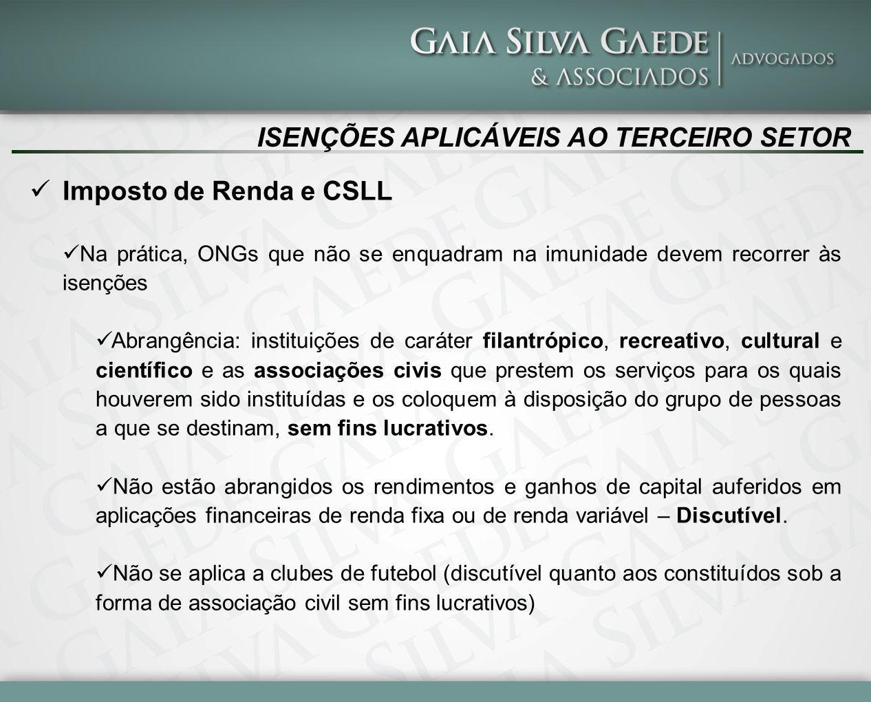 ISENÇÕES APLICÁVEIS AO TERCEIRO SETOR