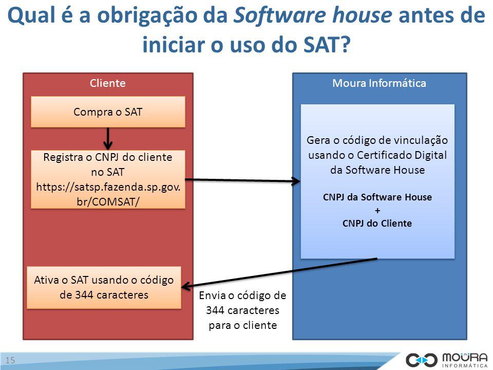 Qual é a obrigação da Software house antes de iniciar o uso do SAT