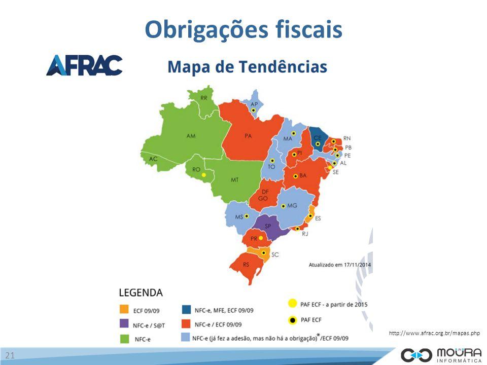 Obrigações fiscais http://www.afrac.org.br/mapas.php