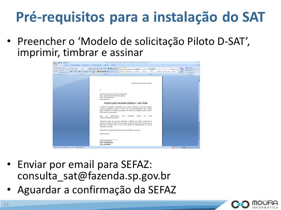 Pré-requisitos para a instalação do SAT