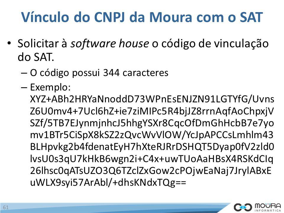 Vínculo do CNPJ da Moura com o SAT