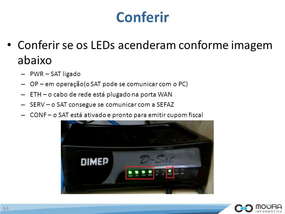 Conferir Conferir se os LEDs acenderam conforme imagem abaixo