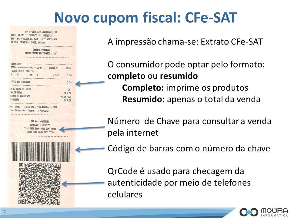 Novo cupom fiscal: CFe-SAT