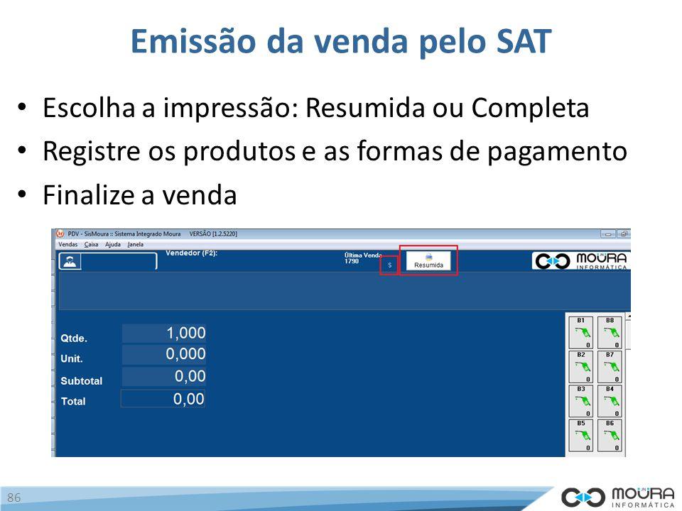 Emissão da venda pelo SAT