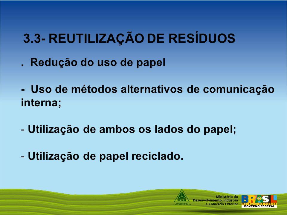 3.3- REUTILIZAÇÃO DE RESÍDUOS