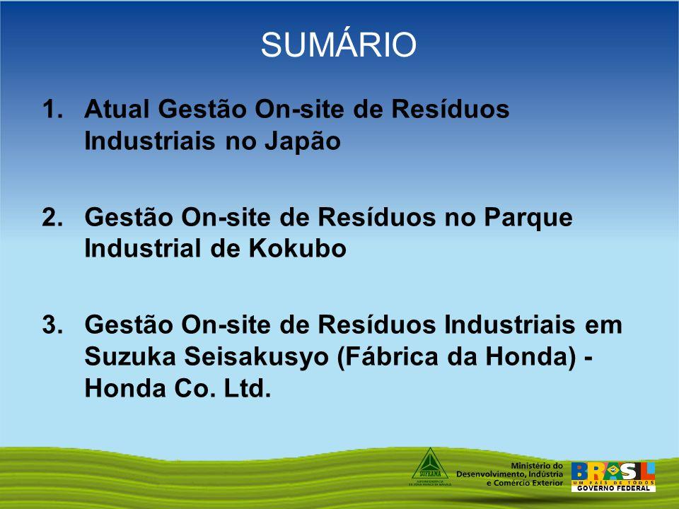 SUMÁRIO Atual Gestão On-site de Resíduos Industriais no Japão