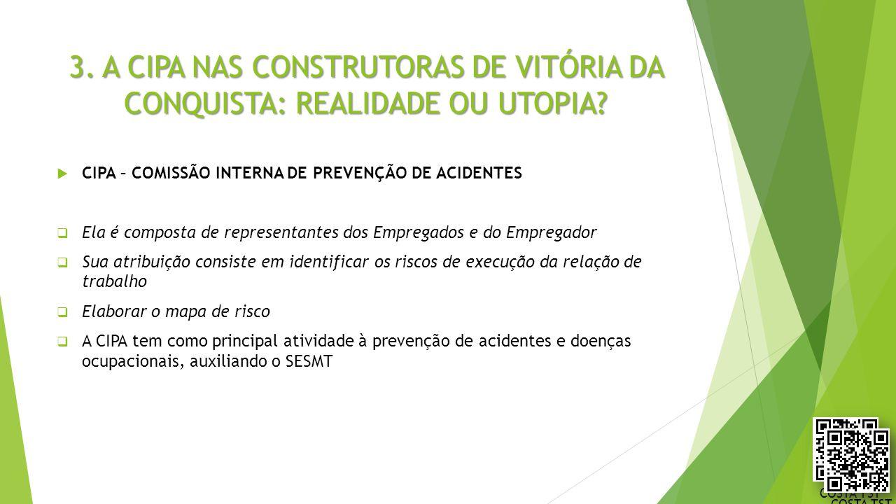 3. A CIPA NAS CONSTRUTORAS DE VITÓRIA DA CONQUISTA: REALIDADE OU UTOPIA