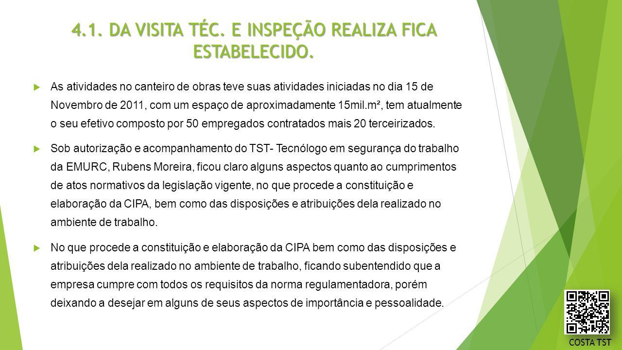 4.1. DA VISITA TÉC. E INSPEÇÃO REALIZA FICA ESTABELECIDO.