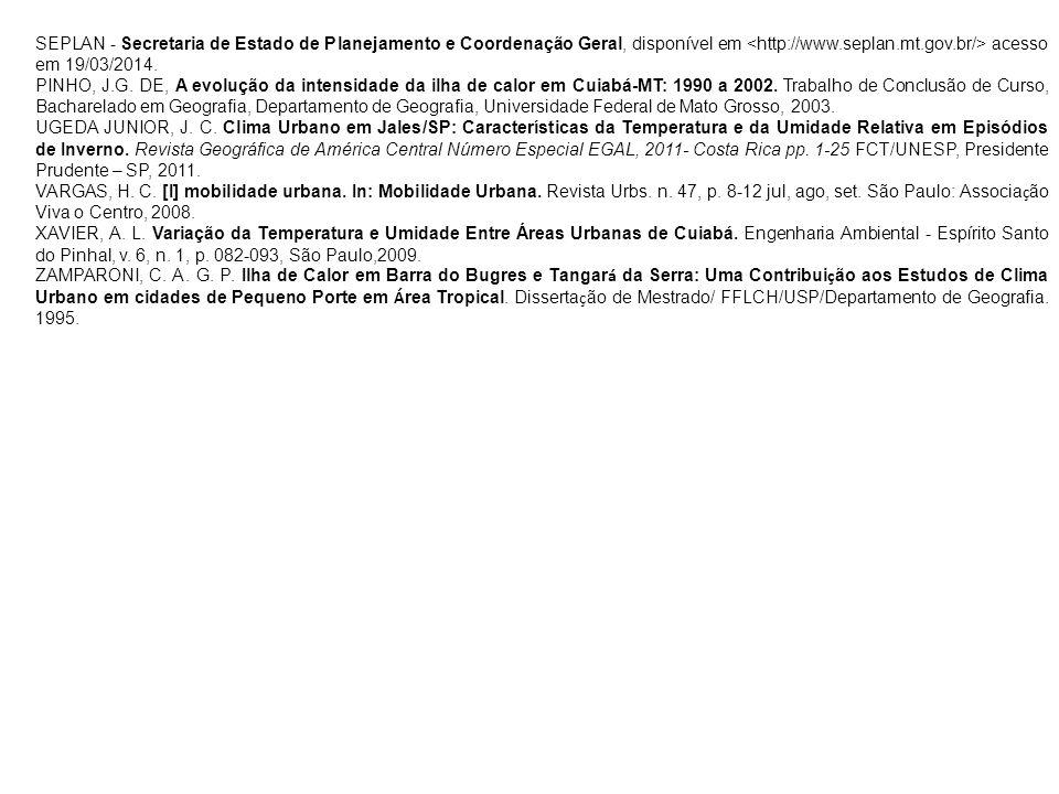SEPLAN - Secretaria de Estado de Planejamento e Coordenação Geral, disponível em <http://www.seplan.mt.gov.br/> acesso em 19/03/2014.