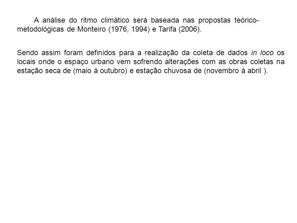 A análise do ritmo climático será baseada nas propostas teórico-metodológicas de Monteiro (1976, 1994) e Tarifa (2006).