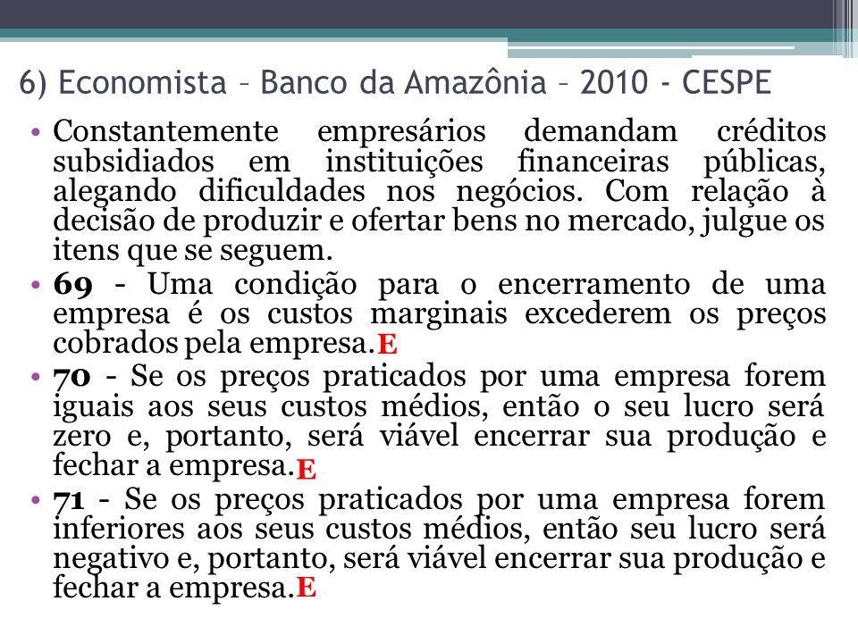 6) Economista – Banco da Amazônia – 2010 - CESPE