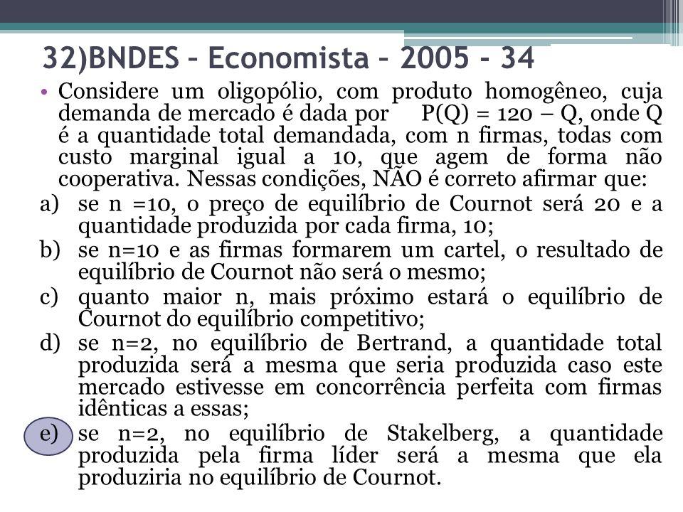 32)BNDES – Economista – 2005 - 34