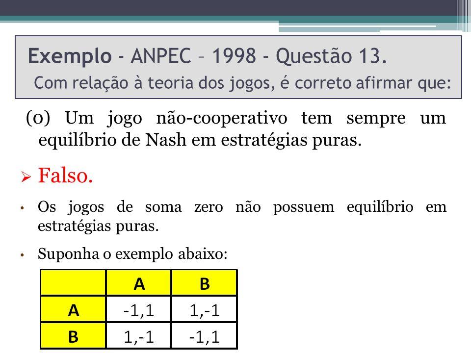 Exemplo - ANPEC – 1998 - Questão 13